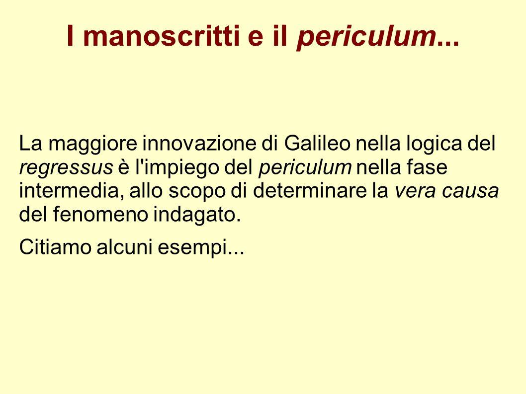 I manoscritti e il periculum... La maggiore innovazione di Galileo nella logica del regressus è l'impiego del periculum nella fase intermedia, allo sc
