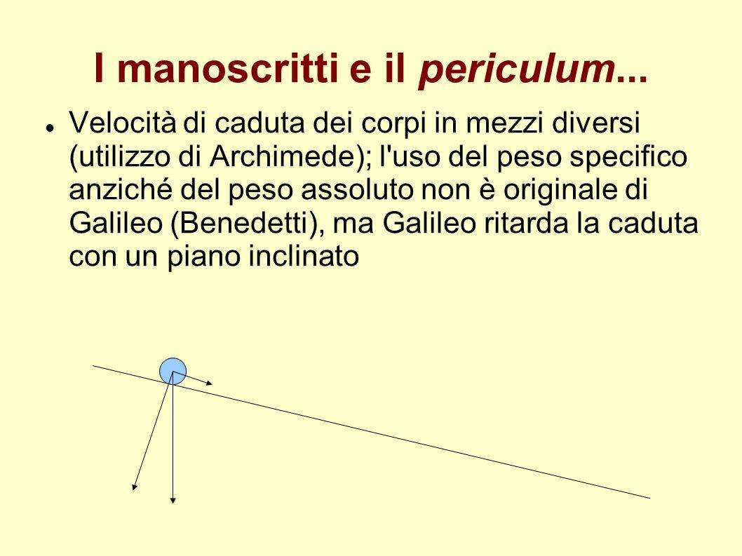 I manoscritti e il periculum... Velocità di caduta dei corpi in mezzi diversi (utilizzo di Archimede); l'uso del peso specifico anziché del peso assol
