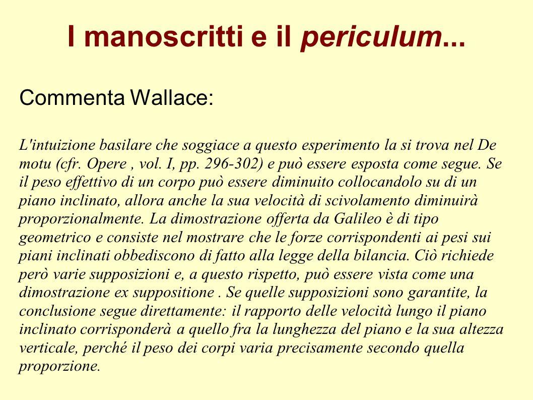 I manoscritti e il periculum... Commenta Wallace: L'intuizione basilare che soggiace a questo esperimento la si trova nel De motu (cfr. Opere, vol. I,