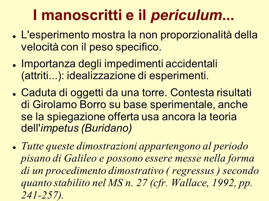 I manoscritti e il periculum... L'esperimento mostra la non proporzionalità della velocità con il peso specifico. Importanza degli impedimenti acciden