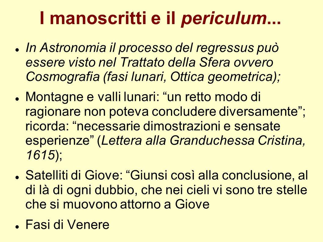 I manoscritti e il periculum... In Astronomia il processo del regressus può essere visto nel Trattato della Sfera ovvero Cosmografia (fasi lunari, Ott