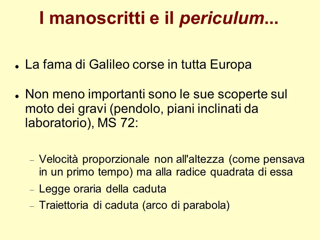 I manoscritti e il periculum... La fama di Galileo corse in tutta Europa Non meno importanti sono le sue scoperte sul moto dei gravi (pendolo, piani i