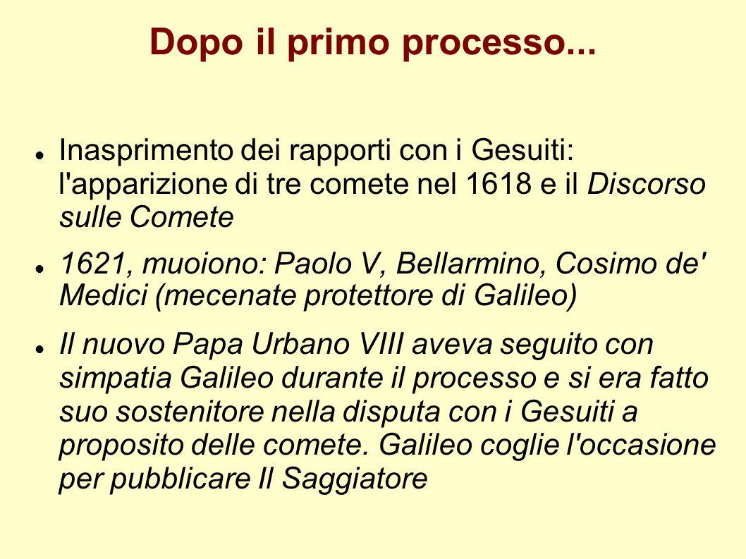 Dopo il primo processo... Inasprimento dei rapporti con i Gesuiti: l'apparizione di tre comete nel 1618 e il Discorso sulle Comete 1621, muoiono: Paol