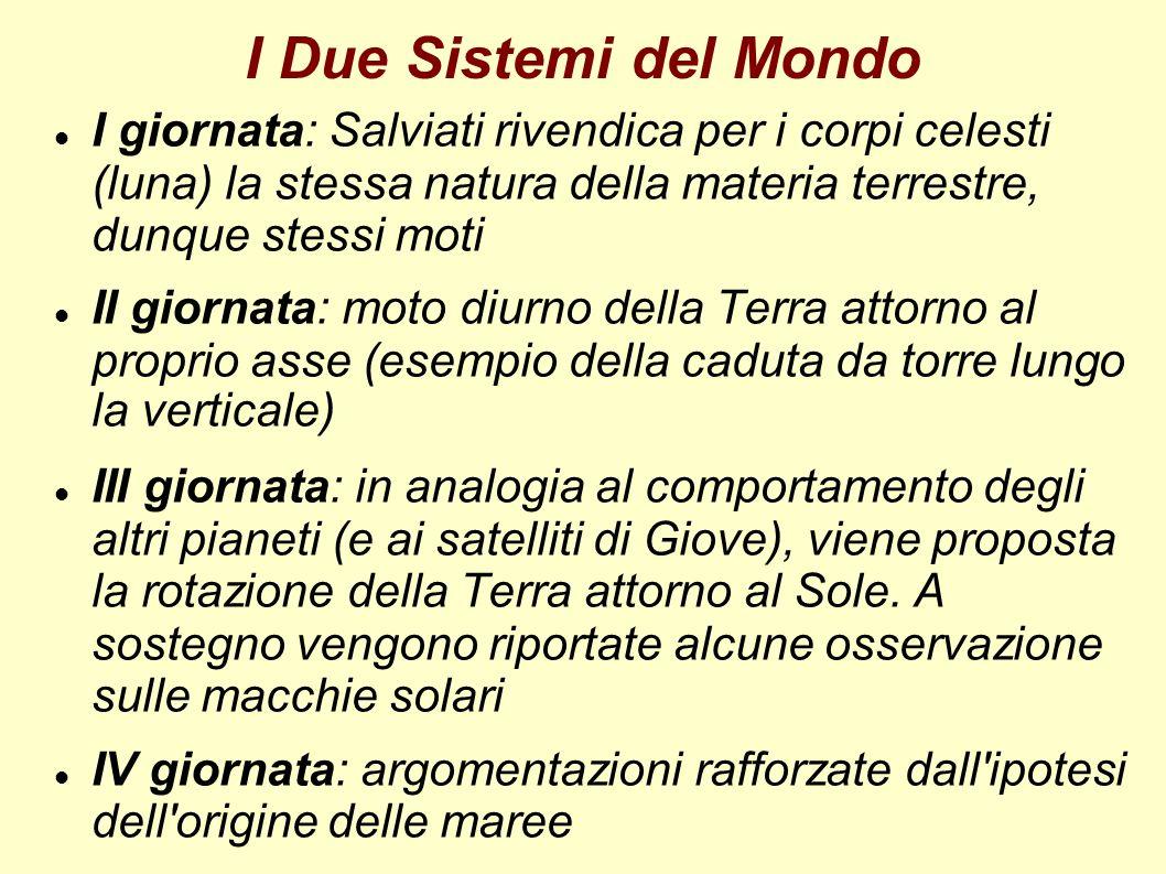 I Due Sistemi del Mondo I giornata: Salviati rivendica per i corpi celesti (luna) la stessa natura della materia terrestre, dunque stessi moti II gior