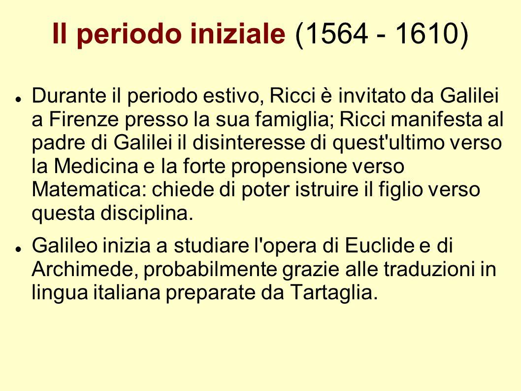 Il periodo iniziale (1564 - 1610) Durante il periodo estivo, Ricci è invitato da Galilei a Firenze presso la sua famiglia; Ricci manifesta al padre di