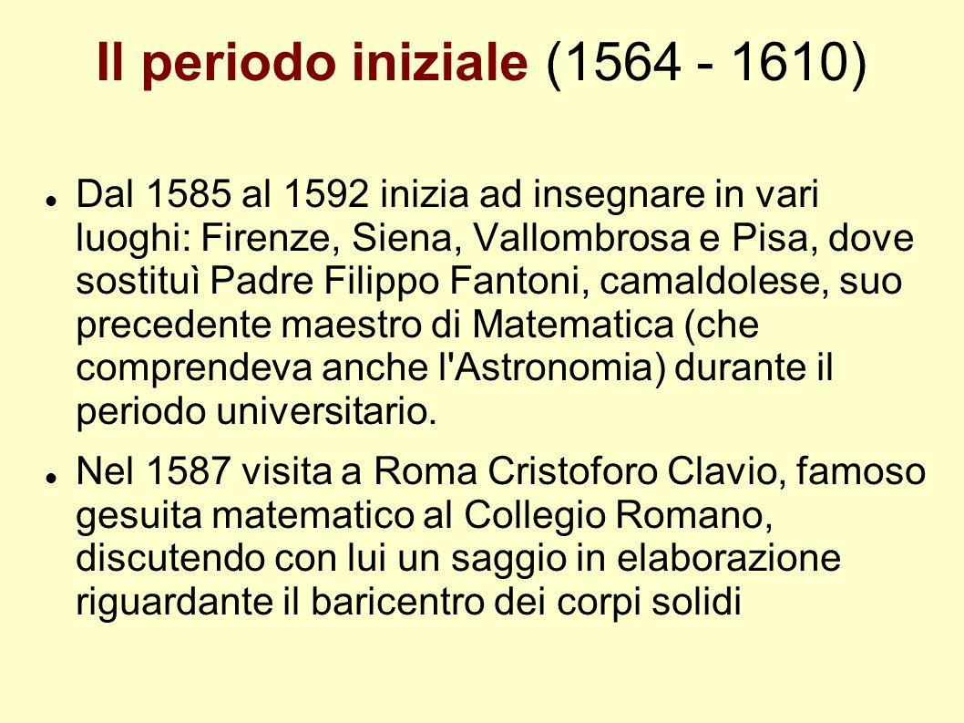 Il periodo iniziale (1564 - 1610) Dal 1585 al 1592 inizia ad insegnare in vari luoghi: Firenze, Siena, Vallombrosa e Pisa, dove sostituì Padre Filippo