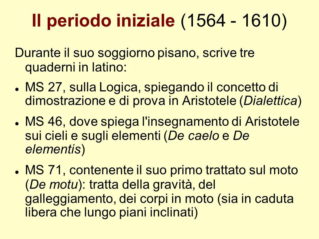 Il periodo iniziale (1564 - 1610) Durante il suo soggiorno pisano, scrive tre quaderni in latino: MS 27, sulla Logica, spiegando il concetto di dimost