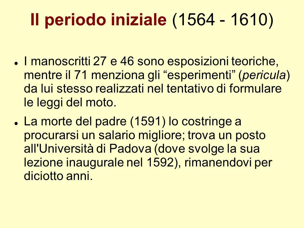 Il periodo iniziale (1564 - 1610) I manoscritti 27 e 46 sono esposizioni teoriche, mentre il 71 menziona gli esperimenti (pericula) da lui stesso real