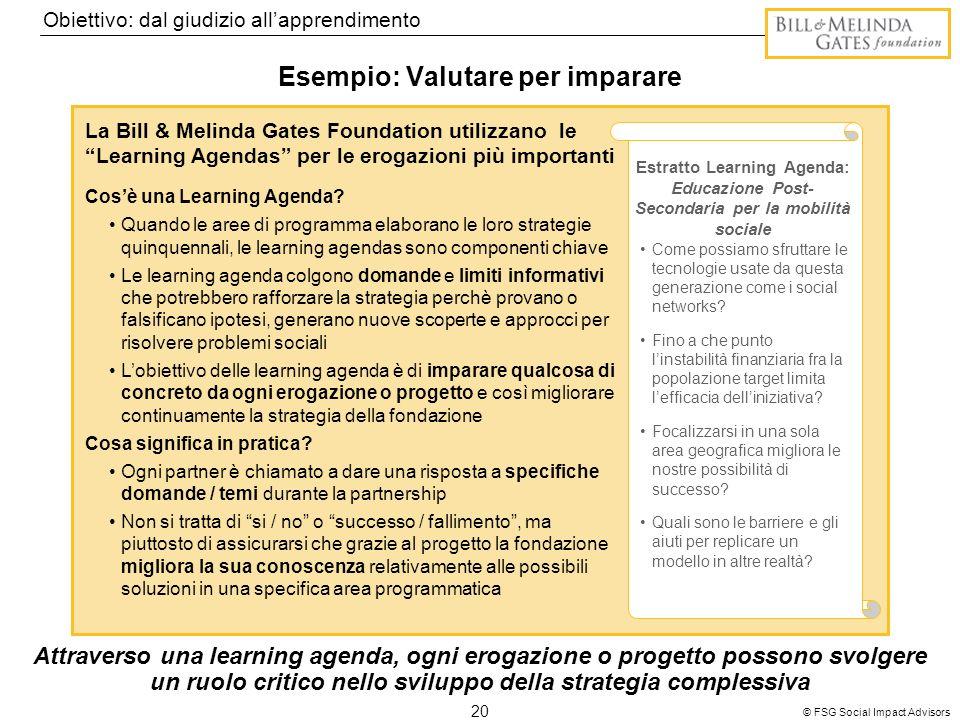 20 © FSG Social Impact Advisors Esempio: Valutare per imparare La Bill & Melinda Gates Foundation utilizzano le Learning Agendas per le erogazioni più importanti Cosè una Learning Agenda.