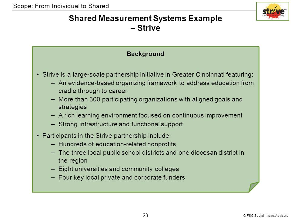 © FSG Social Impact Advisors 23 Shared Measurement Systems Example – Strive Scope: From Individual to Shared Background Strive is a large-scale partnership initiative in Greater Cincinnati featuring: –An evidence-based organizing framework to address education from cradle through to career –More than 300 participating organizations with aligned goals and strategies –A rich learning environment focused on continuous improvement –Strong infrastructure and functional support Participants in the Strive partnership include: –Hundreds of education-related nonprofits –The three local public school districts and one diocesan district in the region –Eight universities and community colleges –Four key local private and corporate funders