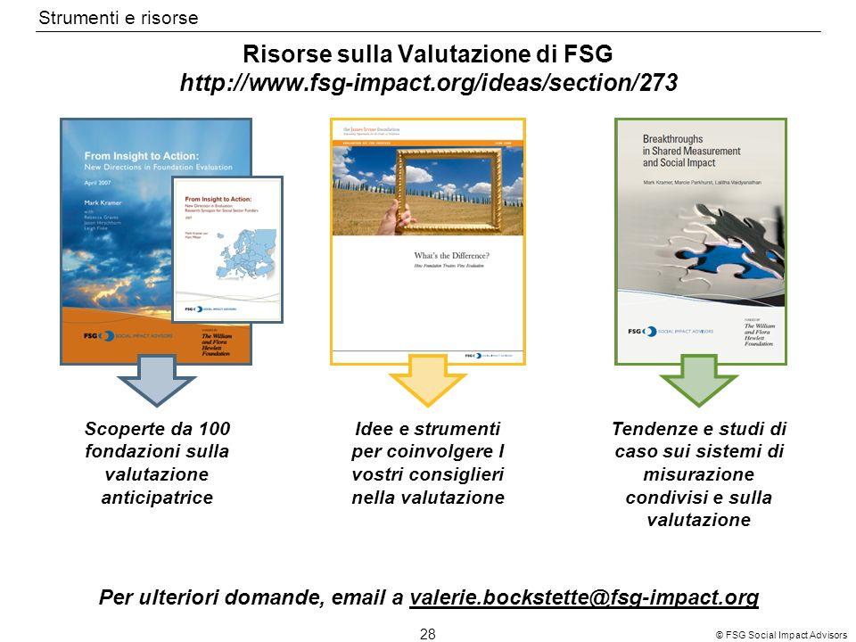 28 © FSG Social Impact Advisors Risorse sulla Valutazione di FSG http://www.fsg-impact.org/ideas/section/273 Scoperte da 100 fondazioni sulla valutazi
