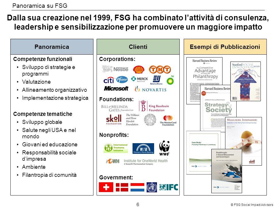 6 © FSG Social Impact Advisors Dalla sua creazione nel 1999, FSG ha combinato lattività di consulenza, leadership e sensibilizzazione per promuovere u