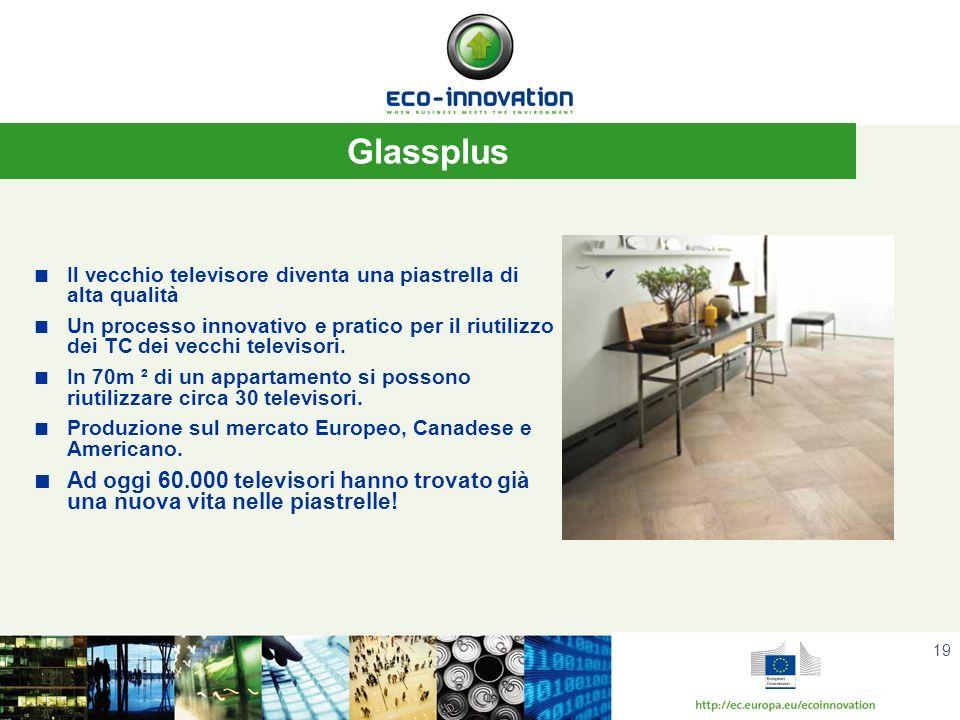 19 Glassplus Il vecchio televisore diventa una piastrella di alta qualità Un processo innovativo e pratico per il riutilizzo dei TC dei vecchi televisori.