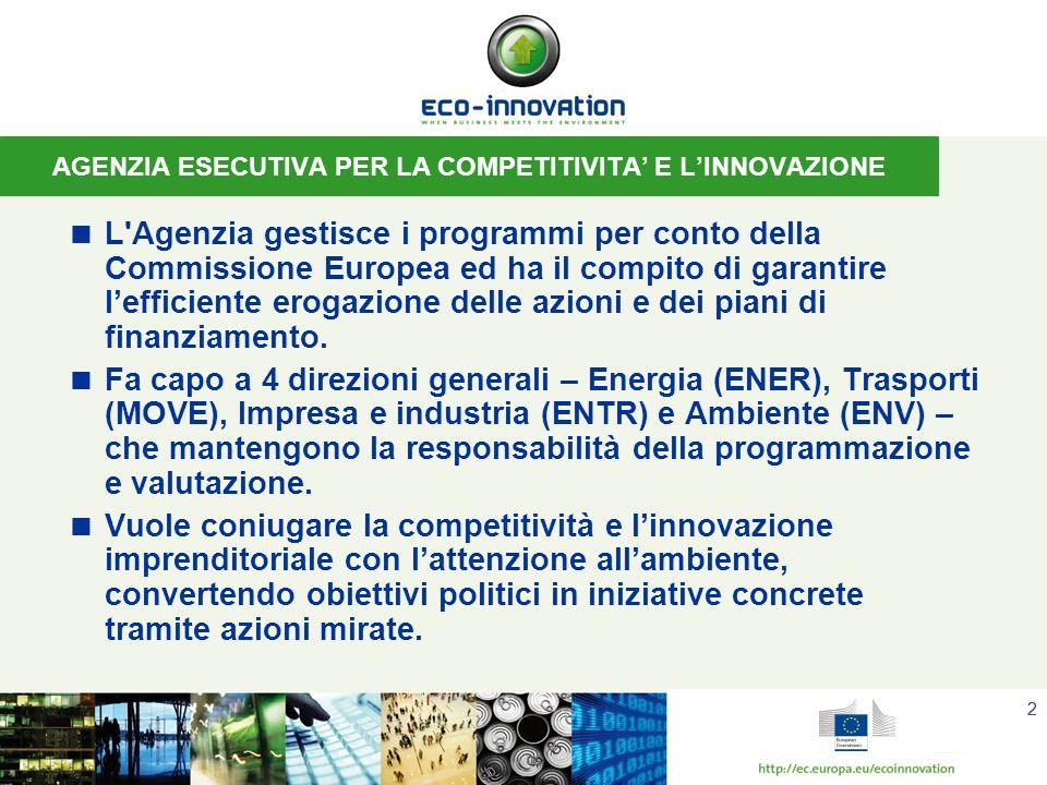 22 AGENZIA ESECUTIVA PER LA COMPETITIVITA E LINNOVAZIONE L Agenzia gestisce i programmi per conto della Commissione Europea ed ha il compito di garantire lefficiente erogazione delle azioni e dei piani di finanziamento.
