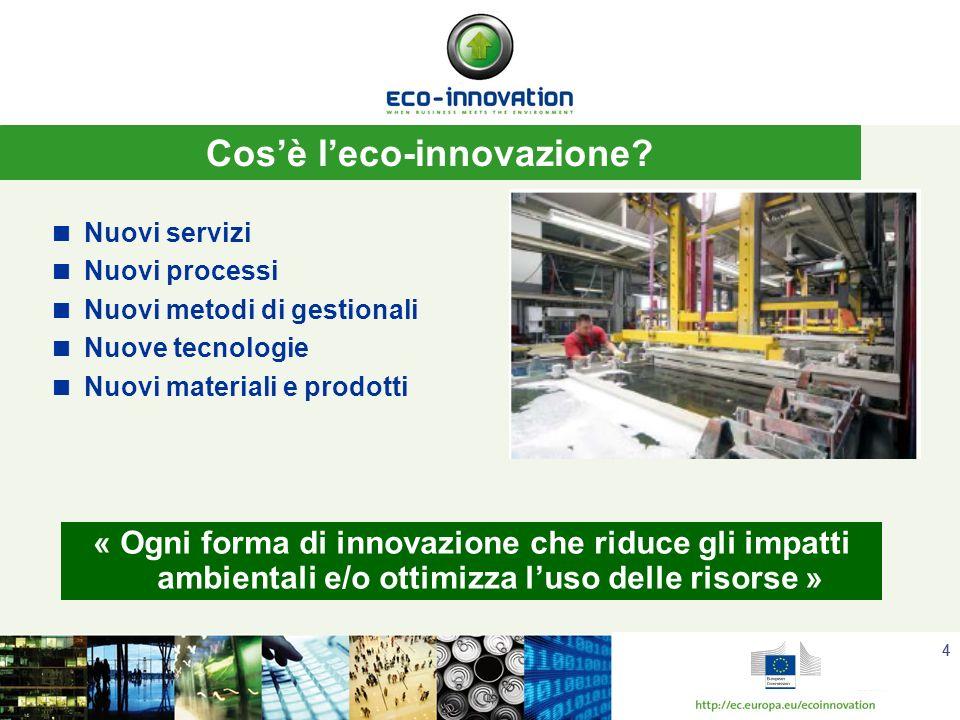 44 Nuovi servizi Nuovi processi Nuovi metodi di gestionali Nuove tecnologie Nuovi materiali e prodotti Cosè leco-innovazione.