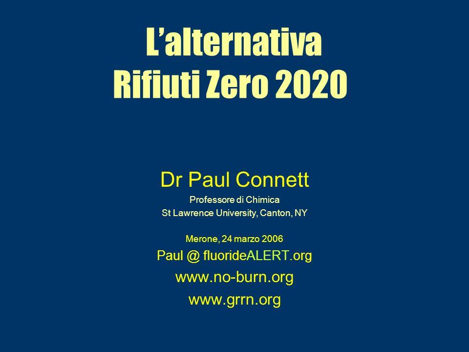 Lalternativa Rifiuti Zero 2020 Dr Paul Connett Professore di Chimica St Lawrence University, Canton, NY Merone, 24 marzo 2006 Paul @ fluorideALERT.org www.no-burn.org www.grrn.org