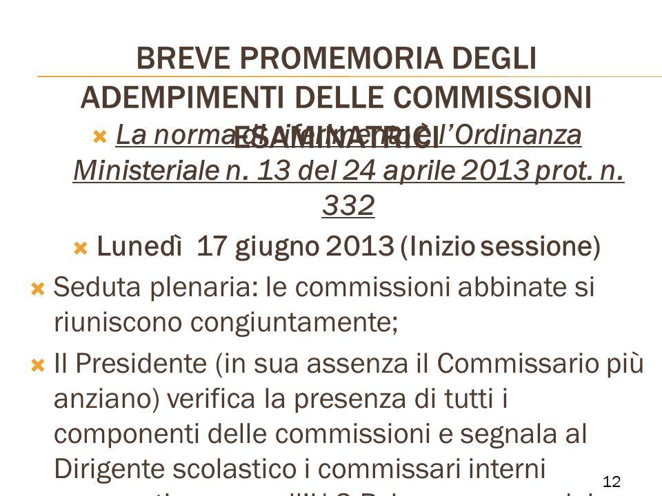 BREVE PROMEMORIA DEGLI ADEMPIMENTI DELLE COMMISSIONI ESAMINATRICI La norma di riferimento è lOrdinanza Ministeriale n. 13 del 24 aprile 2013 prot. n.