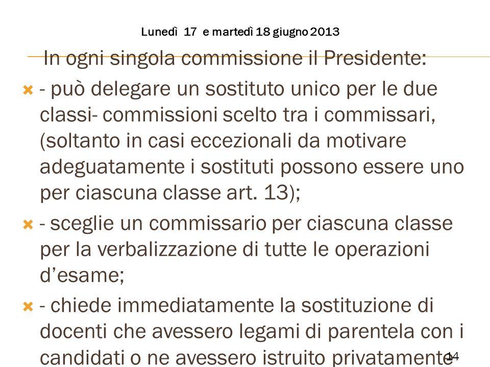 In ogni singola commissione il Presidente: - può delegare un sostituto unico per le due classi- commissioni scelto tra i commissari, (soltanto in casi
