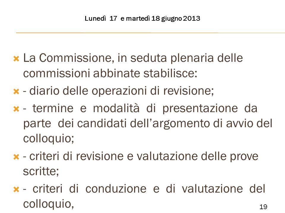 La Commissione, in seduta plenaria delle commissioni abbinate stabilisce: - diario delle operazioni di revisione; - termine e modalità di presentazion
