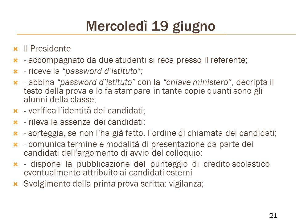 Mercoledì 19 giugno Il Presidente - accompagnato da due studenti si reca presso il referente; - riceve la password distituto; - abbina password distit