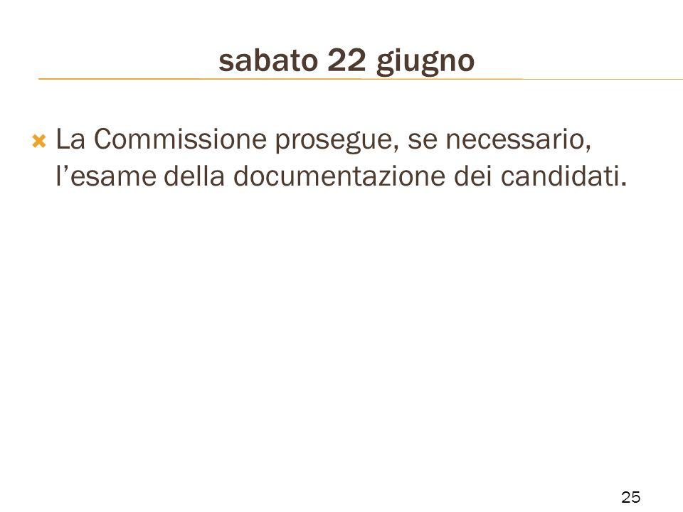 La Commissione prosegue, se necessario, lesame della documentazione dei candidati. sabato 22 giugno 25