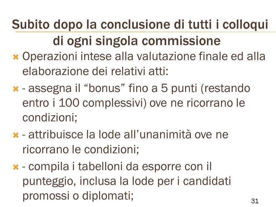 Subito dopo la conclusione di tutti i colloqui di ogni singola commissione Operazioni intese alla valutazione finale ed alla elaborazione dei relativi