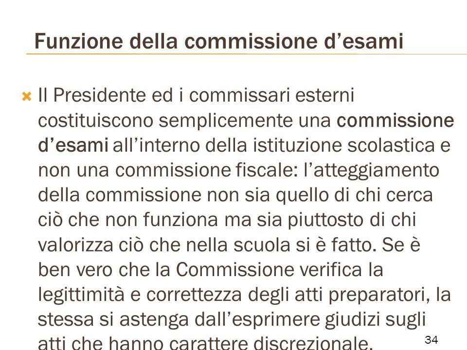 Funzione della commissione desami Il Presidente ed i commissari esterni costituiscono semplicemente una commissione desami allinterno della istituzion