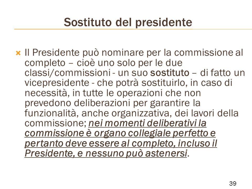 Sostituto del presidente Il Presidente può nominare per la commissione al completo – cioè uno solo per le due classi/commissioni - un suo sostituto –