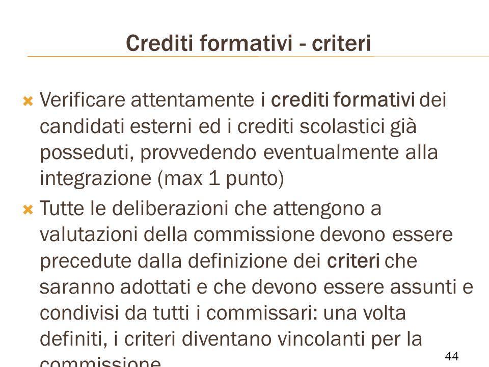 Crediti formativi - criteri Verificare attentamente i crediti formativi dei candidati esterni ed i crediti scolastici già posseduti, provvedendo event