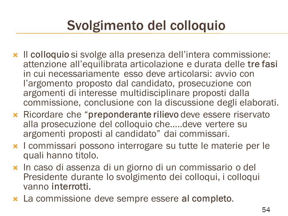 Svolgimento del colloquio Il colloquio si svolge alla presenza dellintera commissione: attenzione allequilibrata articolazione e durata delle tre fasi