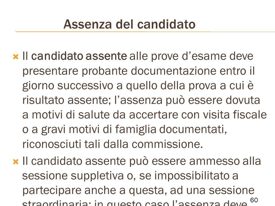 Assenza del candidato Il candidato assente alle prove desame deve presentare probante documentazione entro il giorno successivo a quello della prova a