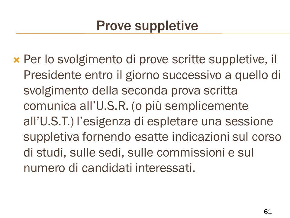Prove suppletive Per lo svolgimento di prove scritte suppletive, il Presidente entro il giorno successivo a quello di svolgimento della seconda prova