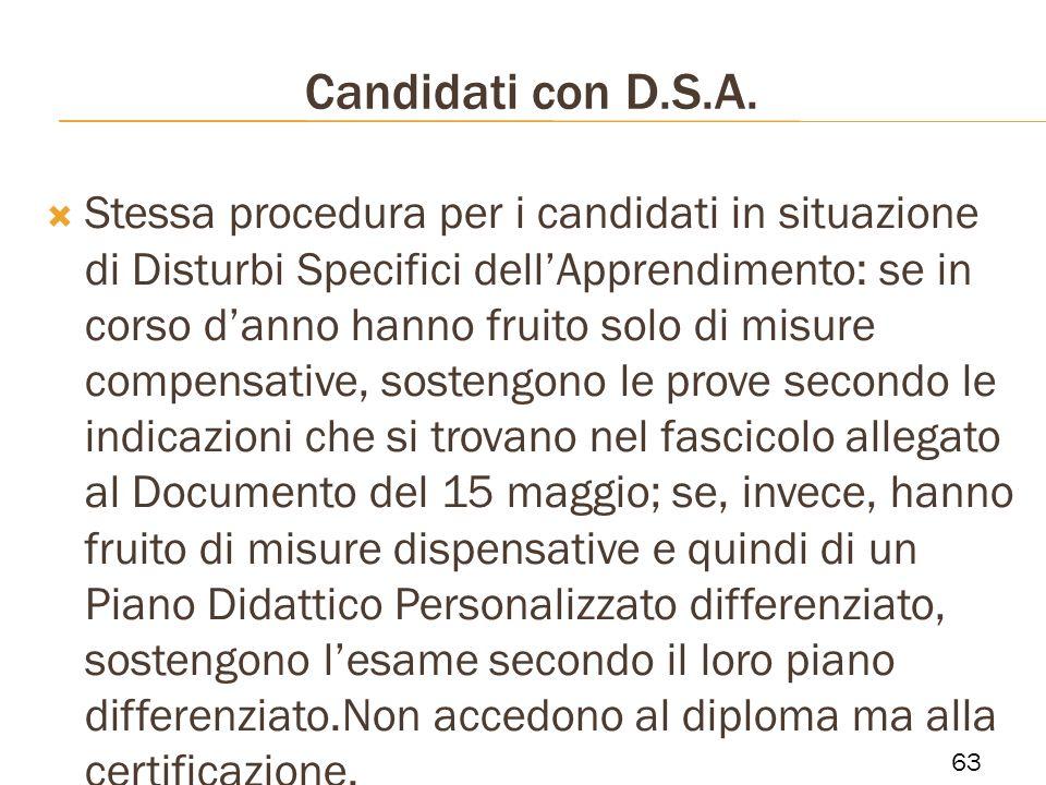 Candidati con D.S.A. Stessa procedura per i candidati in situazione di Disturbi Specifici dellApprendimento: se in corso danno hanno fruito solo di mi