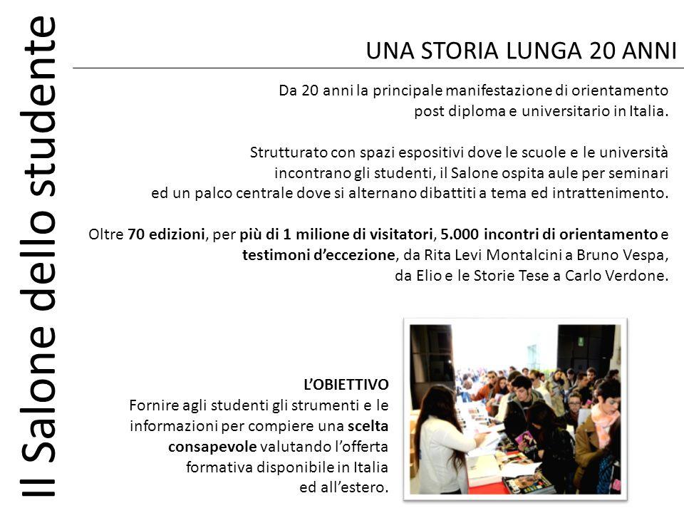 Il Salone dello studente Da 20 anni la principale manifestazione di orientamento post diploma e universitario in Italia. Strutturato con spazi esposit