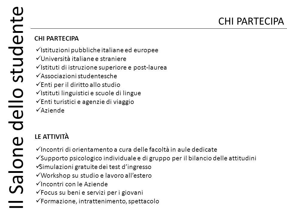 Il Salone dello studente CHI PARTECIPA Istituzioni pubbliche italiane ed europee Università italiane e straniere Istituti di istruzione superiore e po