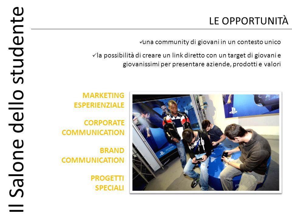 Il Salone dello studente MARKETING ESPERIENZIALE LE OPPORTUNITÀ una community di giovani in un contesto unico la possibilità di creare un link diretto