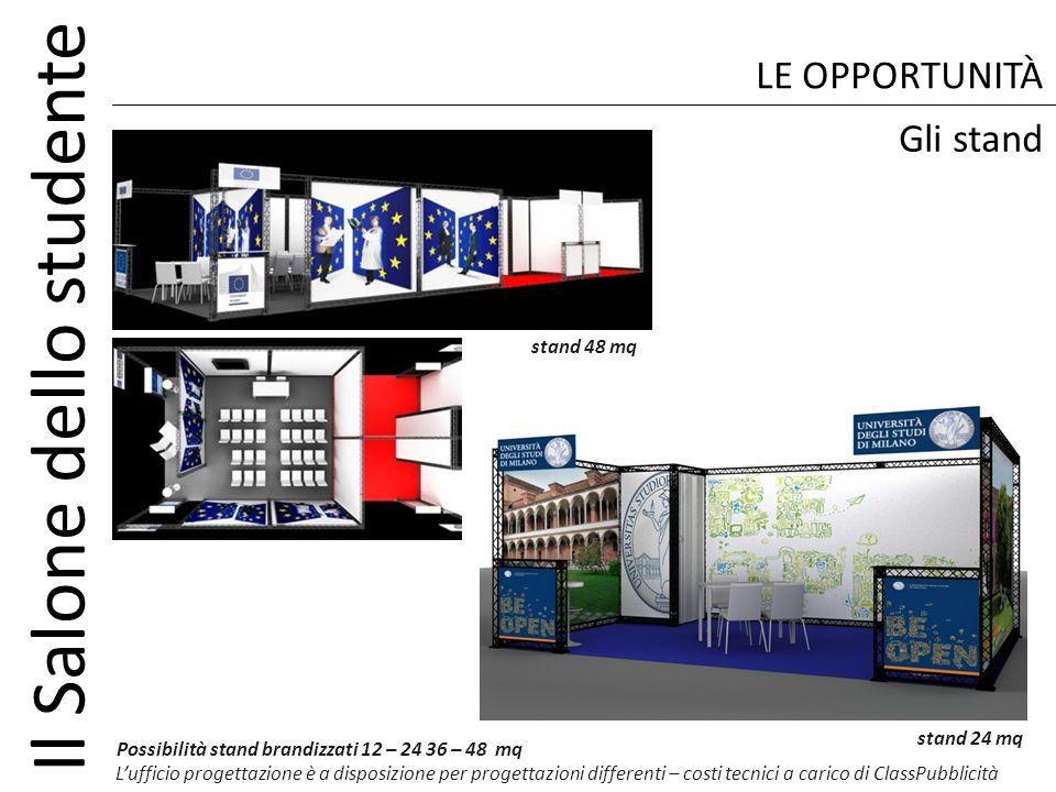 Il Salone dello studente LE OPPORTUNITÀ Possibilità stand brandizzati 12 – 24 36 – 48 mq Lufficio progettazione è a disposizione per progettazioni dif