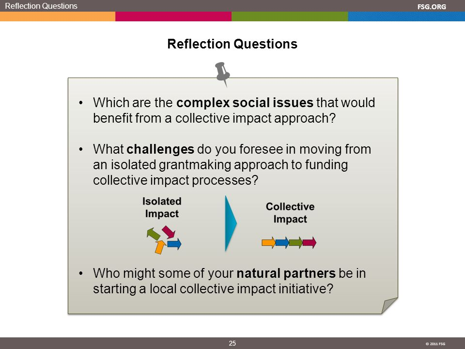 © 2011 FSG 25 FSG.ORG Reflection Questions Which are the complex social issues that would benefit from a collective impact approach? What challenges d