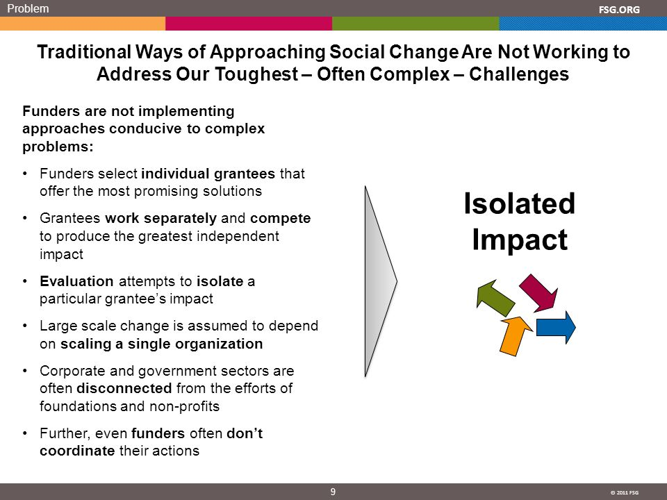 © 2011 FSG 9 FSG.ORG Problem Traditional Ways of Approaching Social Change Are Not Working to Address Our Toughest – Often Complex – Challenges Funders are not implementing approaches conducive to complex problems: Funders select individual grantees that offer the most promising solutions Grantees work separately and compete to produce the greatest independent impact Evaluation attempts to isolate a particular grantees impact Large scale change is assumed to depend on scaling a single organization Corporate and government sectors are often disconnected from the efforts of foundations and non-profits Further, even funders often dont coordinate their actions Isolated Impact