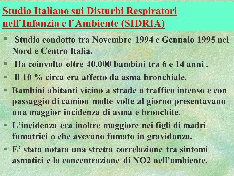 Studio Italiano sui Disturbi Respiratori nellInfanzia e lAmbiente (SIDRIA) § Studio condotto tra Novembre 1994 e Gennaio 1995 nel Nord e Centro Italia