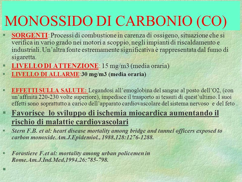 MONOSSIDO DI CARBONIO (CO) §SORGENTI: Processi di combustione in carenza di ossigeno, situazione che si verifica in vario grado nei motori a scoppio,