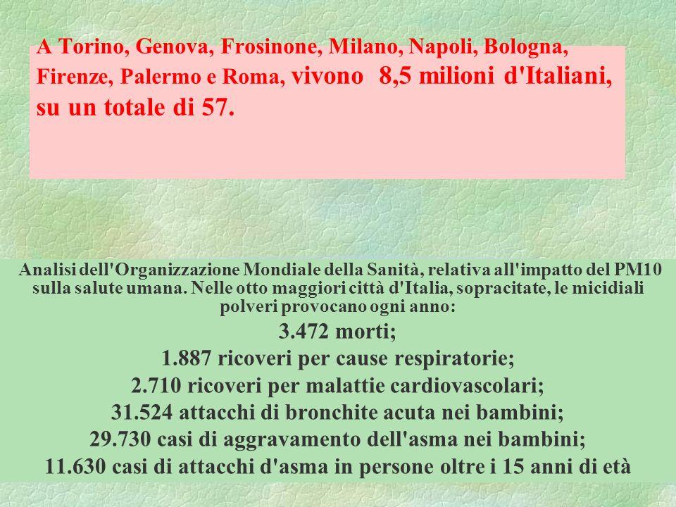 A Torino, Genova, Frosinone, Milano, Napoli, Bologna, Firenze, Palermo e Roma, vivono 8,5 milioni d'Italiani, su un totale di 57. Analisi dell'Organiz