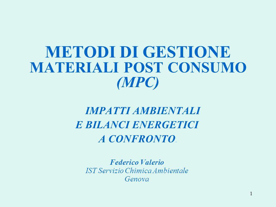 22 Nella gestione dei MPC, il minor impatto ambientale e il maggiore risparmio energetico si realizzano con IL RICICLAGGIO