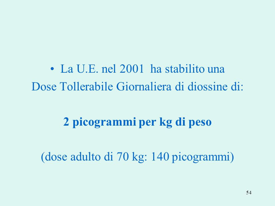 54 La U.E. nel 2001 ha stabilito una Dose Tollerabile Giornaliera di diossine di: 2 picogrammi per kg di peso (dose adulto di 70 kg: 140 picogrammi)