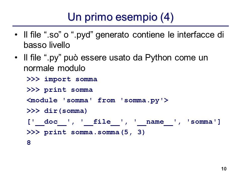 10 Un primo esempio (4) Il file.so o.pyd generato contiene le interfacce di basso livello Il file.py può essere usato da Python come un normale modulo