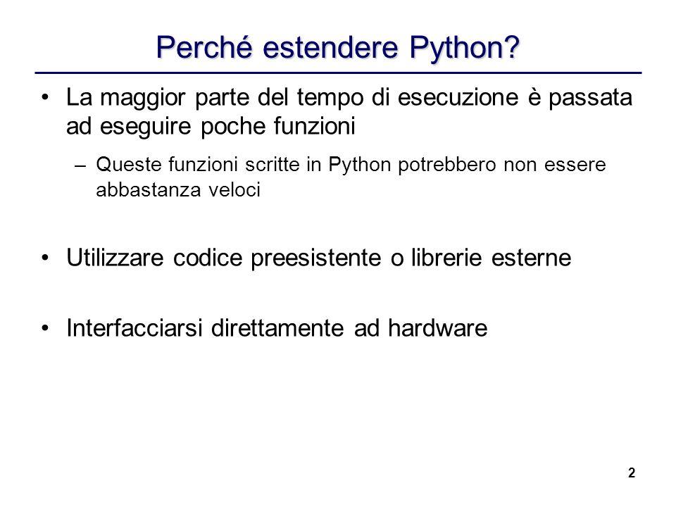 2 Perché estendere Python? La maggior parte del tempo di esecuzione è passata ad eseguire poche funzioni –Queste funzioni scritte in Python potrebbero
