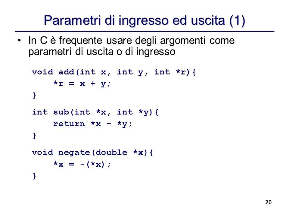 20 Parametri di ingresso ed uscita (1) In C è frequente usare degli argomenti come parametri di uscita o di ingresso void add(int x, int y, int *r){ *
