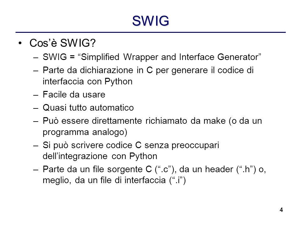 4 SWIG Cosè SWIG? –SWIG = Simplified Wrapper and Interface Generator –Parte da dichiarazione in C per generare il codice di interfaccia con Python –Fa
