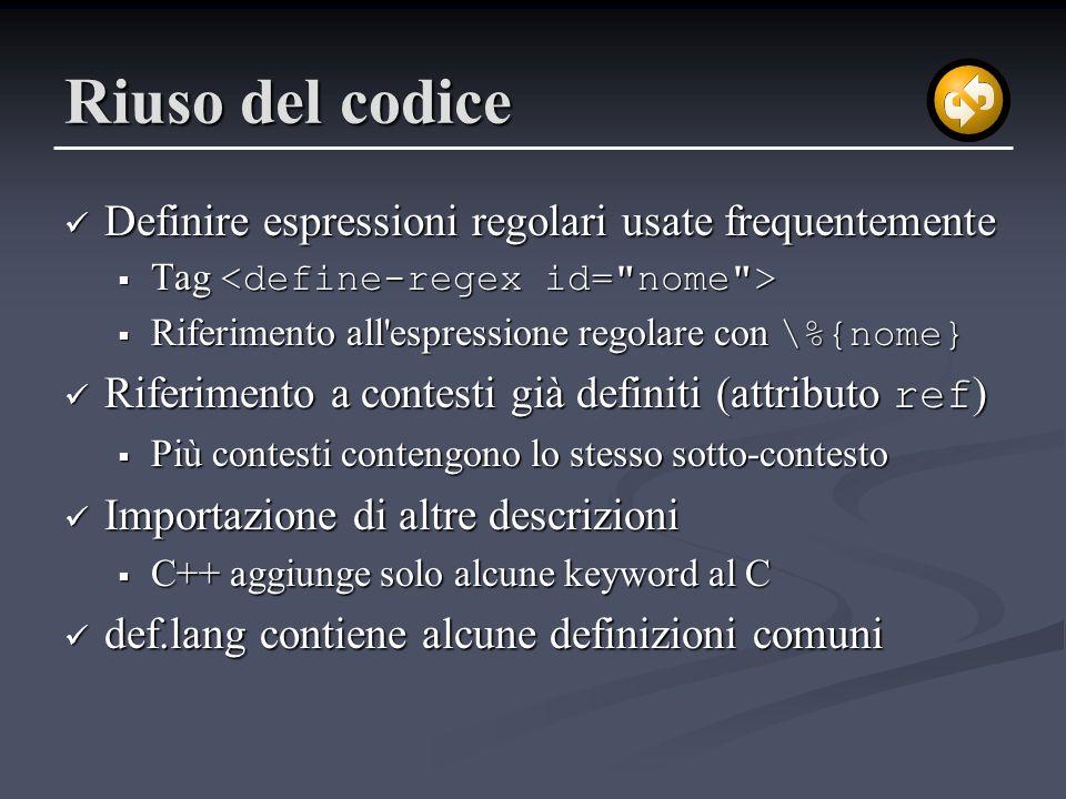 Riuso del codice Definire espressioni regolari usate frequentemente Definire espressioni regolari usate frequentemente Tag Tag Riferimento all'espress