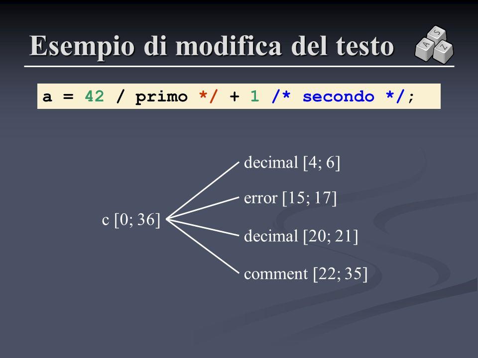 Esempio di modifica del testo a = 42 / primo */ + 1 /* secondo */; c [0; 36] error [15; 17] decimal [4; 6] comment [22; 35] decimal [20; 21]